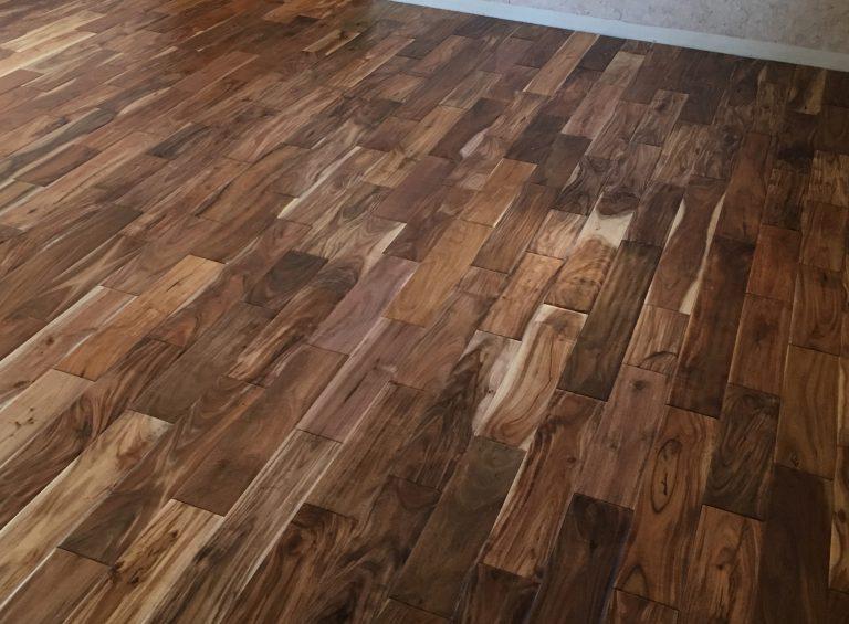 dark hardwood flooring close up in house