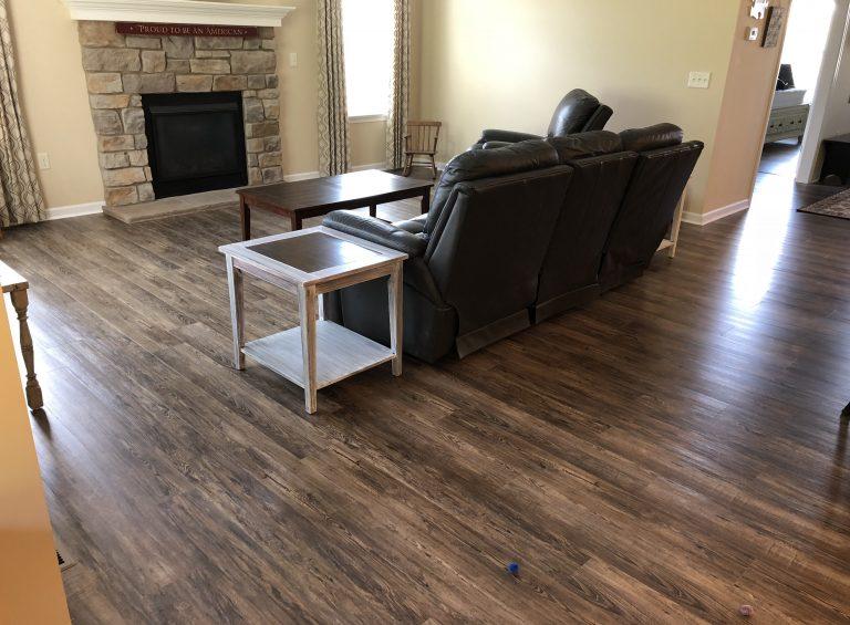 vinyl plank floor in living room