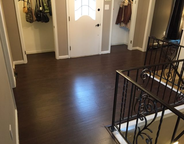 dark engineered wood floor in entry room