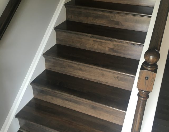 dark hardwood home staircase