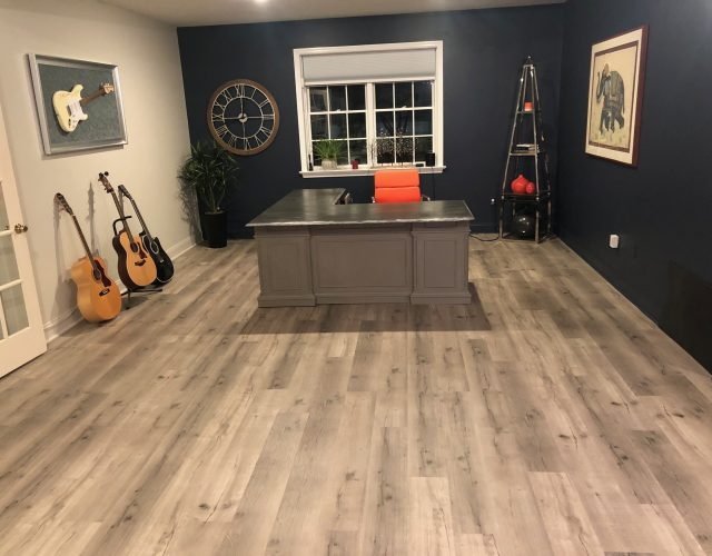 completed wood flooring in completed home office