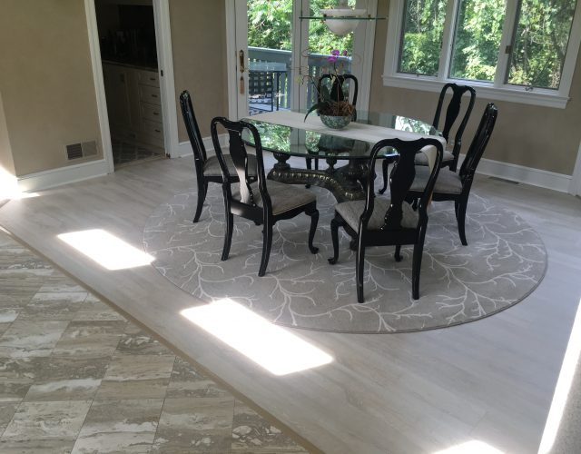 gray engineered wood dining room floor