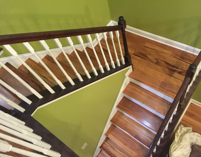 long light laminated wood staircase