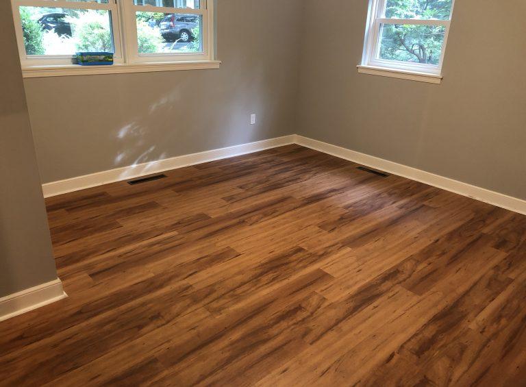 vinyl plank dark flooring in house room