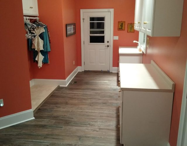 completed vinyl plank flooring in kitchen